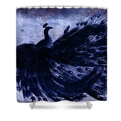 Shower Curtain featuring the painting Dancing Peacock Navy by Anita Lewis