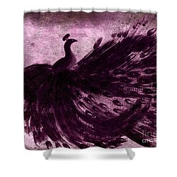 Dancing Peacock Plum Shower Curtain