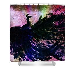 Shower Curtain featuring the digital art Dancing Peacock Rainbow by Anita Lewis