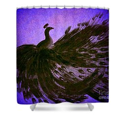 Shower Curtain featuring the digital art Dancing Peacock Vivid Blue by Anita Lewis