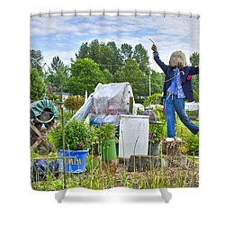 Dancing Scarecrow In The Garden Shower Curtain