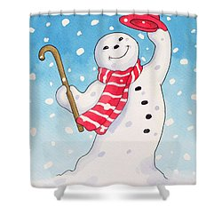 Dancing Snowman Shower Curtain by Lavinia Hamer