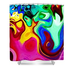 Shower Curtain featuring the digital art Dancing Spirits  by Annie Zeno