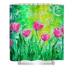 Dancing Tulips Shower Curtain