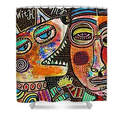Dancing With My Dog Shower Curtain by Sandra Silberzweig