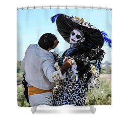 Dancing With The Death Shower Curtain by Menachem Ganon