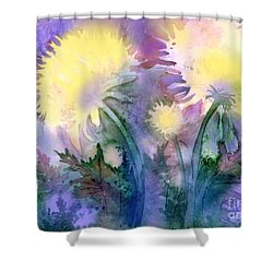 Shower Curtain featuring the painting Dandelions by Teresa Ascone