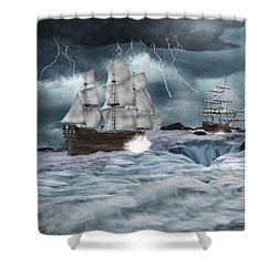 Danger Ahead Shower Curtain by Davandra Cribbie