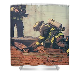 Dangerous Work Shower Curtain by Laurie Search