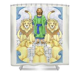 Daniel In The Lions' Den Shower Curtain by Alison Stein