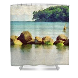 Danish Coast On The Rocks Shower Curtain by Jeffrey Kolker