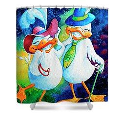 Dapper Duckies Shower Curtain by Hanne Lore Koehler
