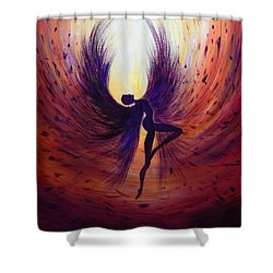 Dark Angel Shower Curtain by Lilia D