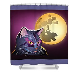 Shower Curtain featuring the digital art Dark Cat And Full Moon by MM Anderson