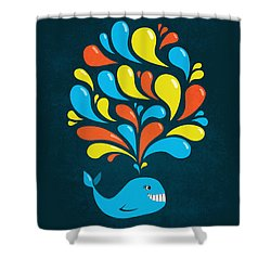 Dark Colorful Splash Happy Cartoon Whale Shower Curtain by Boriana Giormova