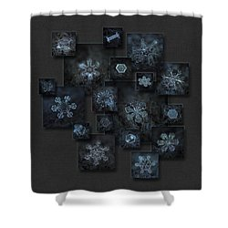 Shower Curtain featuring the photograph Snowflake Collage - Dark Crystals 2012-2014 by Alexey Kljatov