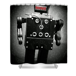 Dark Metal Robot Oil Shower Curtain by Edward Fielding