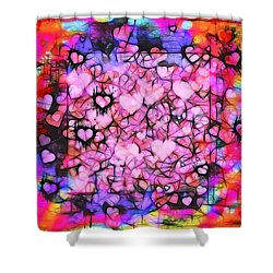 Moody Grunge Hearts Abstract Shower Curtain