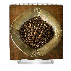 Dark Roast Coffee Beans And Antique Silver Shower Curtain