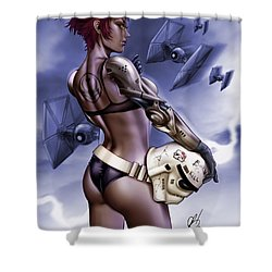 Dark Sided Shower Curtain by Pete Tapang