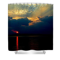 Shower Curtain featuring the photograph Cloudy Sunset by James C Thomas