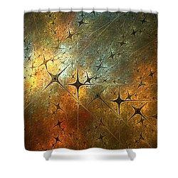Dark Star Grid Shower Curtain