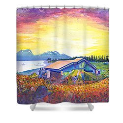 Shower Curtain featuring the painting Dark Star Orchestra Dillon Amphitheater by David Sockrider