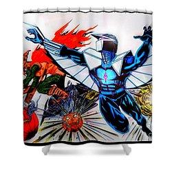 Darkhawk Vs Hobgoblin Focused Shower Curtain by Justin Moore