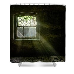 Shower Curtain featuring the photograph Darkness Revealed - Basement Room Of An Abandoned Asylum by Gary Heller
