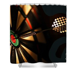 Dart Board In Bar Shower Curtain by Michal Bednarek
