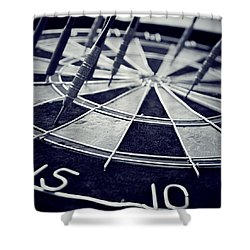 Darts Anyone Shower Curtain by Trish Mistric