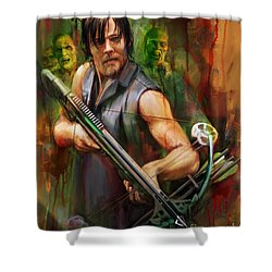 Daryl Dixon Walker Killer Shower Curtain by Rob Corsetti