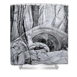 Shower Curtain featuring the drawing Das Monster Hat Sich Im Ungebuegelten Hintergrund Versteckt by Otto Rapp
