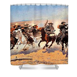 Dash For The Timber Shower Curtain by Frederic Remington