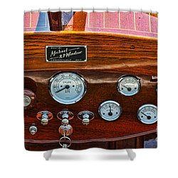 Dashboard In A Classic Wooden Boat Shower Curtain by Les Palenik