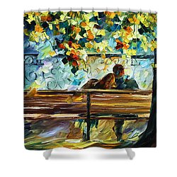 Date On The Bench Shower Curtain by Leonid Afremov