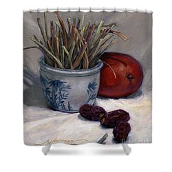 Dates Lemongrass And Mango Shower Curtain