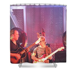 Shower Curtain featuring the photograph Dave And Tim Jam On The Guitar by Aaron Martens