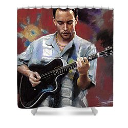 Shower Curtain featuring the drawing Dave Matthews by Viola El
