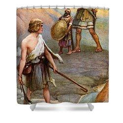 David And Goliath Shower Curtain by Arthur A Dixon