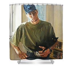 Shower Curtain featuring the painting David And Pulim by Lori Brackett