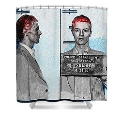 David Bowie Mug Shot Shower Curtain