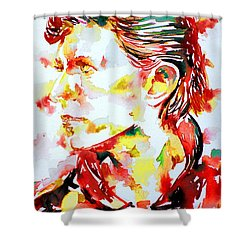 David Bowie Watercolor Portrait.1 Shower Curtain by Fabrizio Cassetta