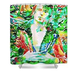 David Bowie Watercolor Portrait.2 Shower Curtain