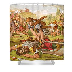David Slaying The Giant Goliath Shower Curtain by English School