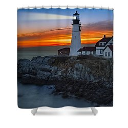 Dawn At Portalnd Head Light Shower Curtain by Susan Candelario