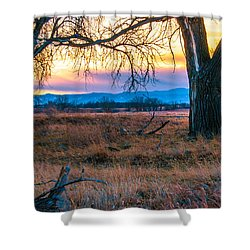 Setting Sun At Rocky Mountain Arsenal Shower Curtain