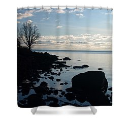 Shower Curtain featuring the photograph Dawn At The Cove by James Peterson