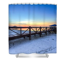 Dawn At The Dock Shower Curtain by Debra and Dave Vanderlaan