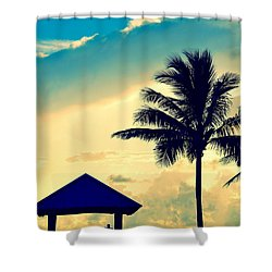 Dawn Beach Pyramid Shower Curtain
